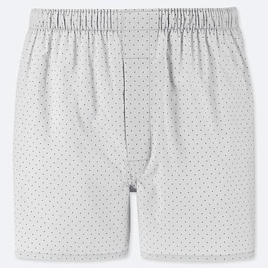 MEN WOVEN PRINTED BOXERS, LIGHT GRAY, medium