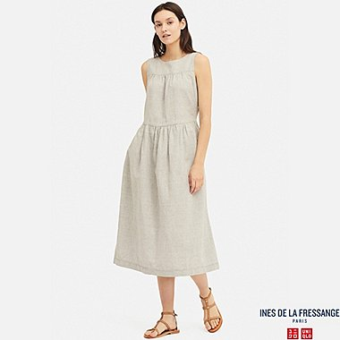 WOMEN LINEN COTTON SLEEVELESS DRESS (INES DE LA FRESSANGE), LIGHT GRAY, medium