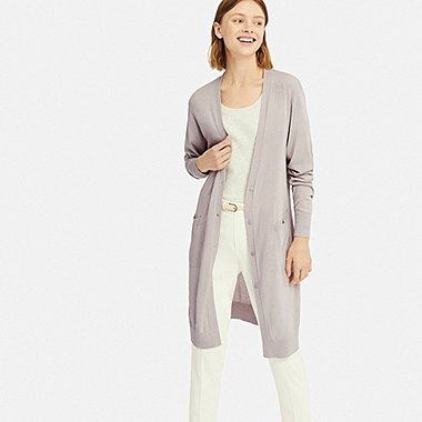 WOMEN UV CUT DOLMAN SLEEVE LONG CARDIGAN, LIGHT GRAY, medium