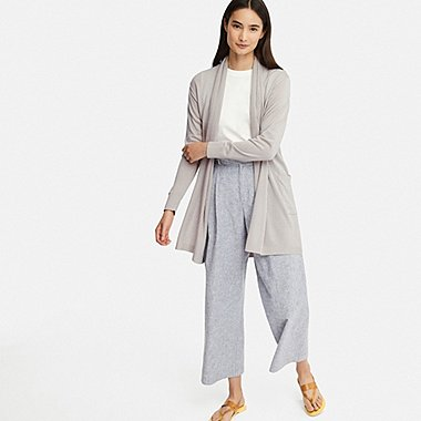 WOMEN UV CUT STOLE LONG-SLEEVE LONG CARDIGAN, LIGHT GRAY, medium