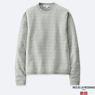 WOMEN COTTON CASHMERE STRIPED CREW NECK SWEATER (INES DE LA FRESSANGE), LIGHT GRAY, medium