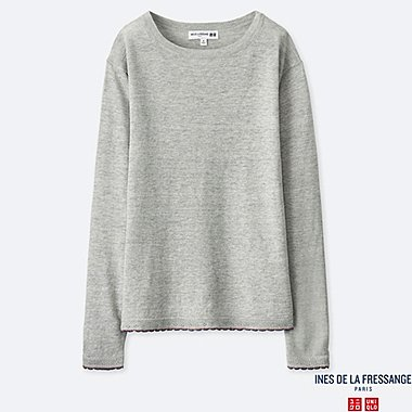 WOMEN PREMIUM LINEN BOAT NECK SWEATER (INES DE LA FRESSANGE), LIGHT GRAY, medium