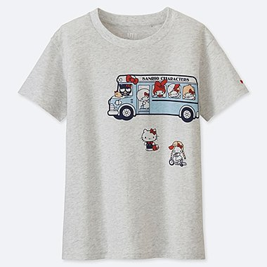 WOMEN SANRIO CHARACTERS UT (SHORT-SLEEVE GRAPHIC T-SHIRT), LIGHT GRAY, medium