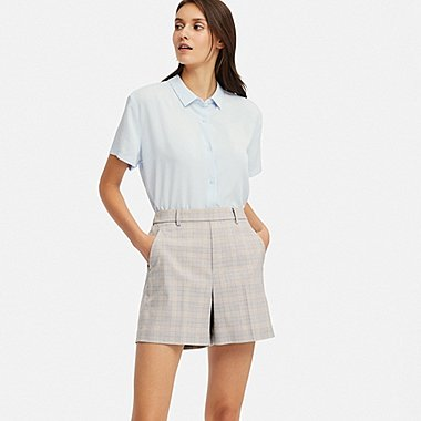WOMEN SMART CHECKED SHORTS (ONLINE EXCLUSIVE), LIGHT GRAY, medium