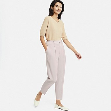 WOMEN DRAPE TAPERED ANKLE-LENGTH PANTS, LIGHT GRAY, medium