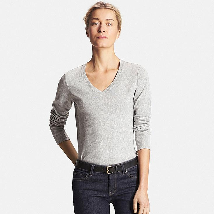Women's Supima® Cotton Long Sleeve V-Neck T-Shirt, GRAY, large