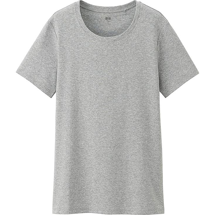 Women Supima® Cotton Crew Neck T-Shirt, GRAY, large