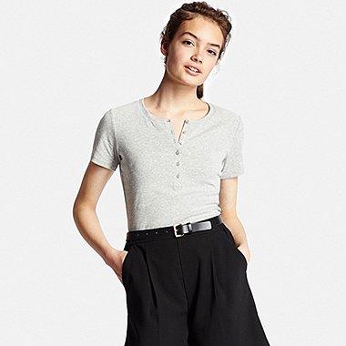 Womens Supima® Cotton Short Sleeve Henley Neck T-Shirt, GRAY, medium