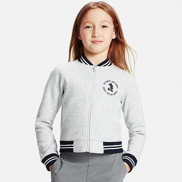 GIRLS Disney Project DRY Knit Zip-Up Letterman Jacket, GRAY, large