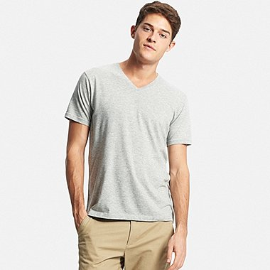 Men DRY V-Neck T-Shirt, GRAY, medium