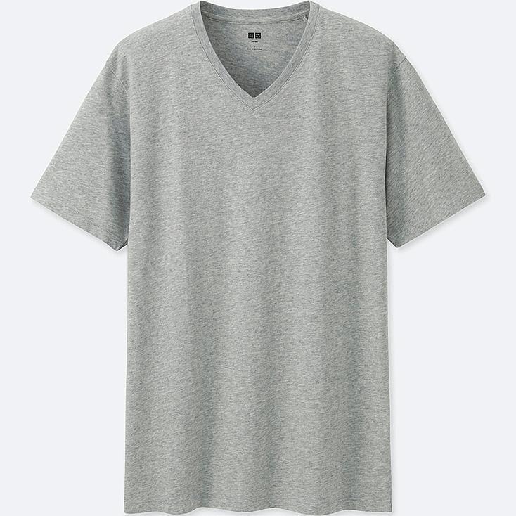 Men Supima® Cotton V-Neck T-Shirt, GRAY, large