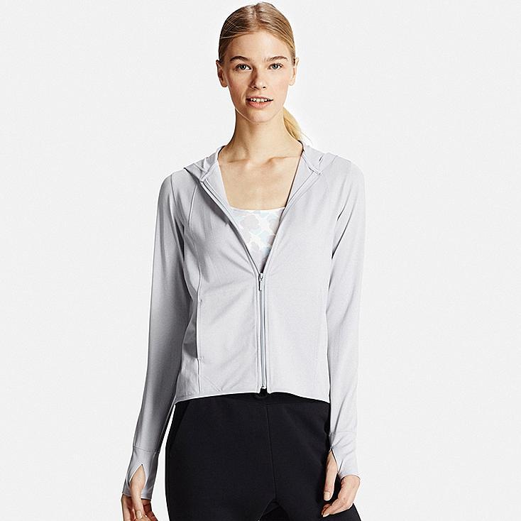 Women AIRism UV Cut Mesh Zip-Up Hoodie, GRAY, large