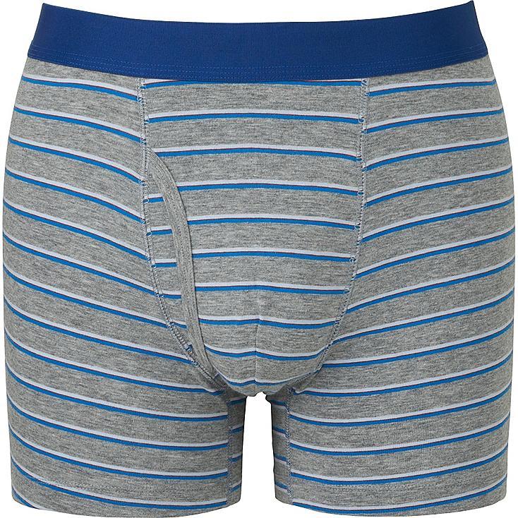 Men Supima® Cotton Striped Boxer Briefs, GRAY, large