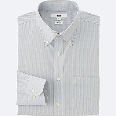 Mens Easy Care Oxford Slim-Fit Dress Shirt, GRAY, medium