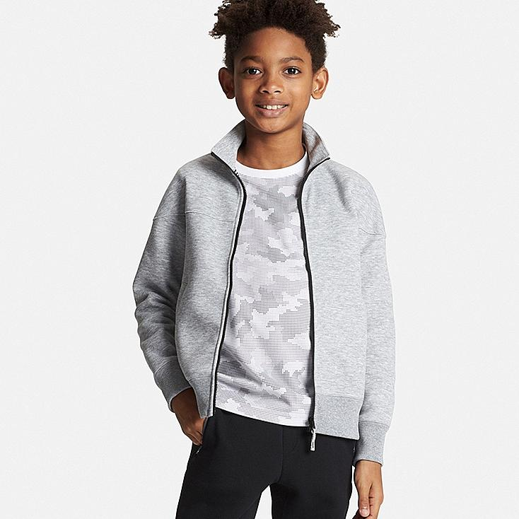 BOYS DRY Stretch Zip-Up Sweatshirt, GRAY, large
