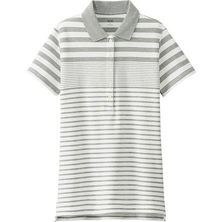 Women Pique Striped Polo Shirt, GRAY, large