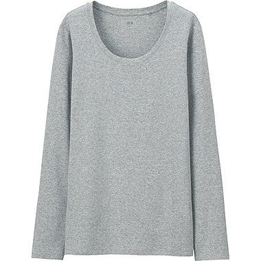 Women Supima® Cotton Crewneck Long Sleeve T-Shirt, GRAY, medium