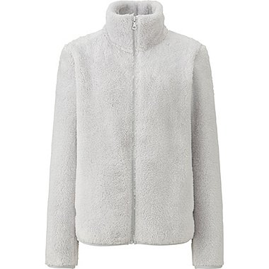 WOMEN FLUFFY YARN FLEECE FULL ZIP JACKET, GRAY, medium