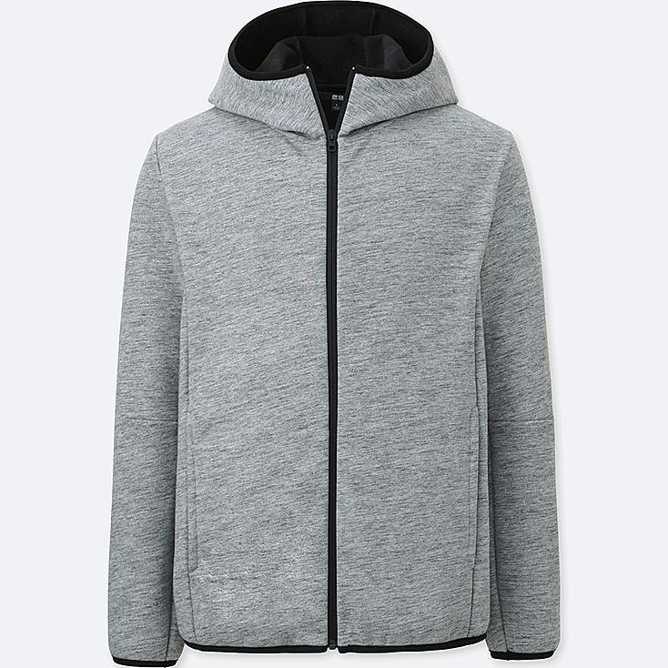 MEN BLOCKTECH FLEECE LONG SLEEVE FULL-ZIP HOODIE, GRAY, large