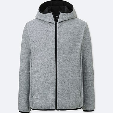 MEN BLOCKTECH FLEECE LONG SLEEVE FULL-ZIP HOODIE, GRAY, medium