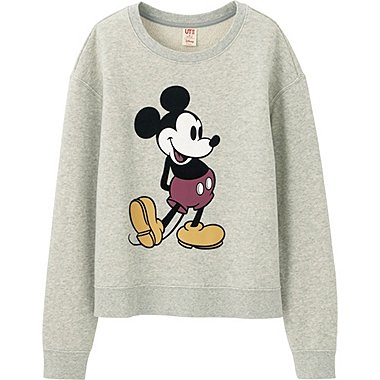 WOMEN DISNEY PROJECT LONG SLEEVE SWEAT PULLOVER, GRAY, medium