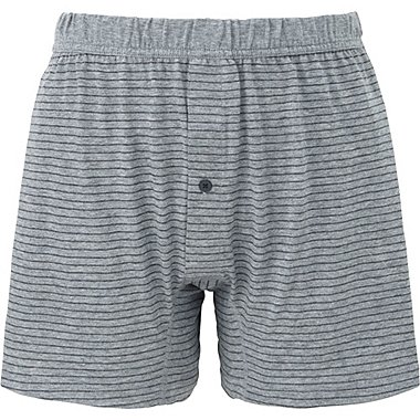 MEN Supima® COTTON KNIT STRIPED TRUNKS, GRAY, medium