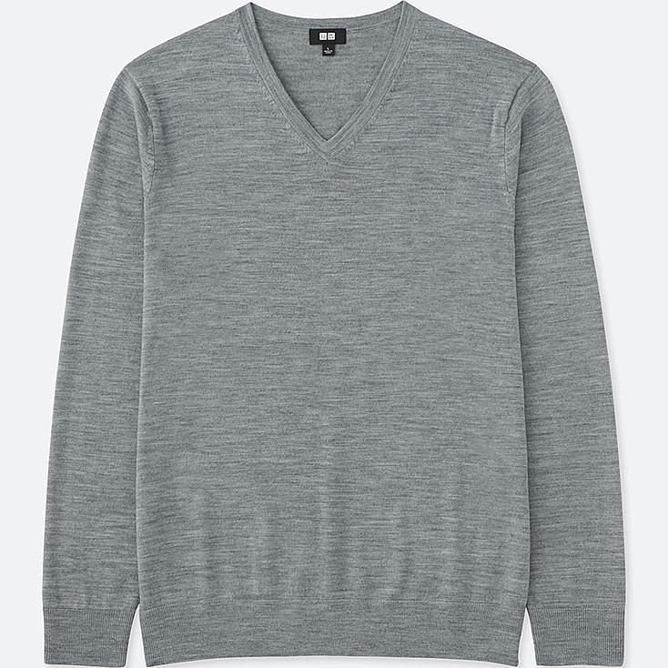 MEN EXTRA FINE MERINO V-NECK SWEATER, GRAY, large