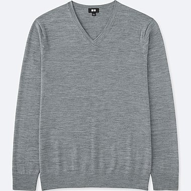 MEN EXTRA FINE MERINO V-NECK SWEATER, GRAY, medium
