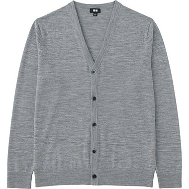 MEN EXTRA FINE MERINO V-NECK CARDIGAN, GRAY, medium