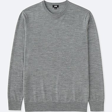 MEN EXTRA FINE MERINO CREWNECK SWEATER, GRAY, medium