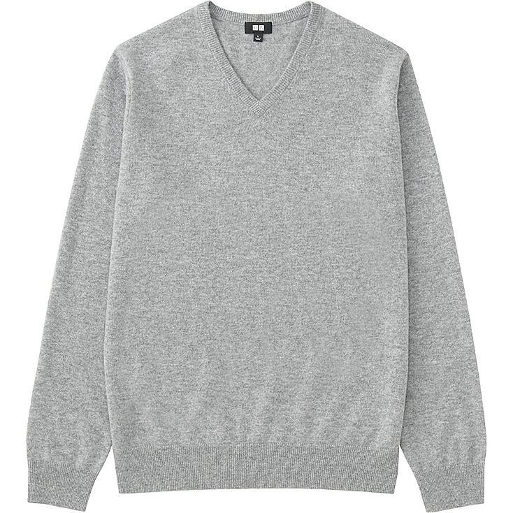 Men Cashmere V-Neck Sweater, GRAY, large