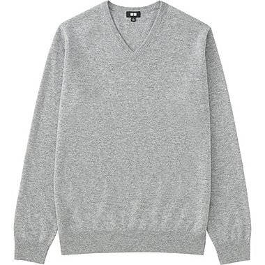 Men Cashmere V-Neck Sweater, GRAY, medium