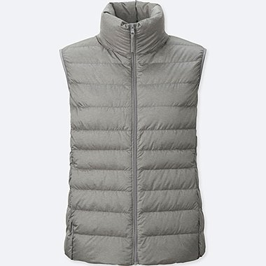 Womens Ultra Light Down Vest, GRAY, medium