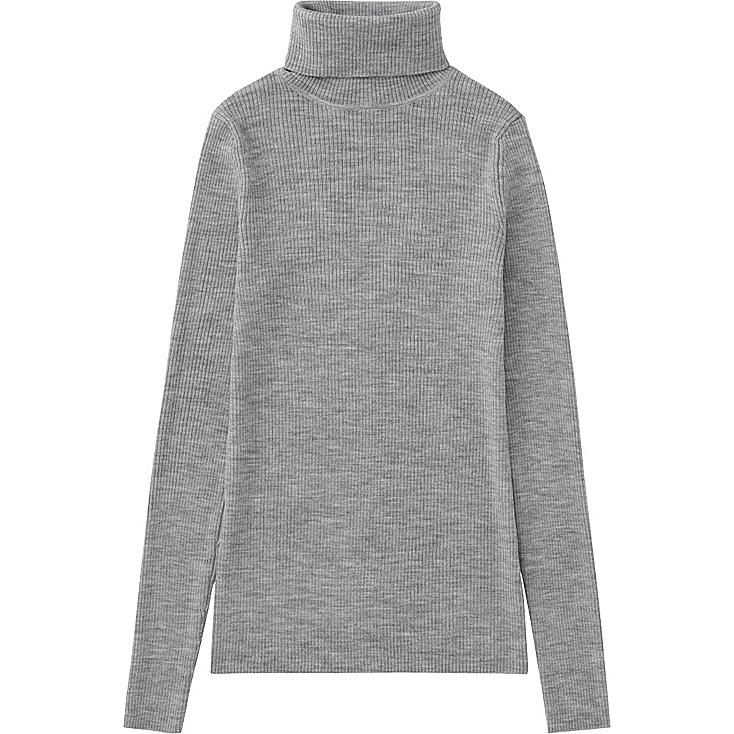 WOMEN EXTRA FINE MERINO RIBBED TURTLE NECK SWEATER, GRAY, large