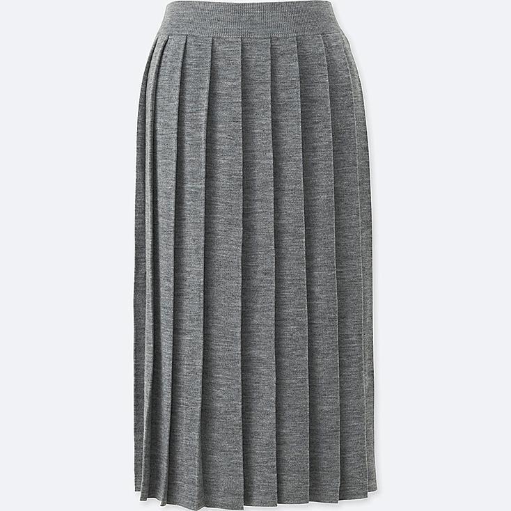 WOMEN Merino Blend Pleated Skirt