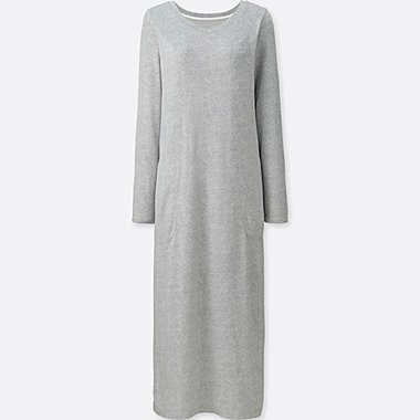 WOMEN HEATTECH EXTRA WARM LOUNGE DRESS, GRAY, medium