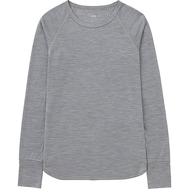 WOMEN Wool Blend Crew Neck Long Sleeve T-Shirt