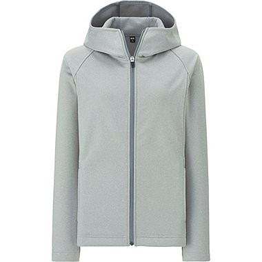 WOMEN BLOCKTECH FLEECE LONG SLEEVE FULL-ZIP HOODIE, GRAY, medium