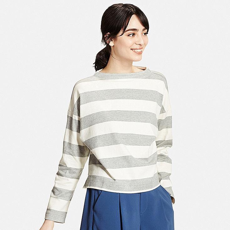 Women striped long sleeve mock neck t shirt uniqlo us for Mock long sleeve t shirts
