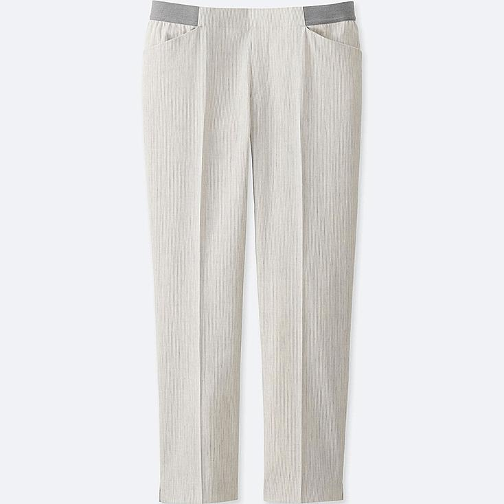 WOMEN Linen Blended Cropped Trousers