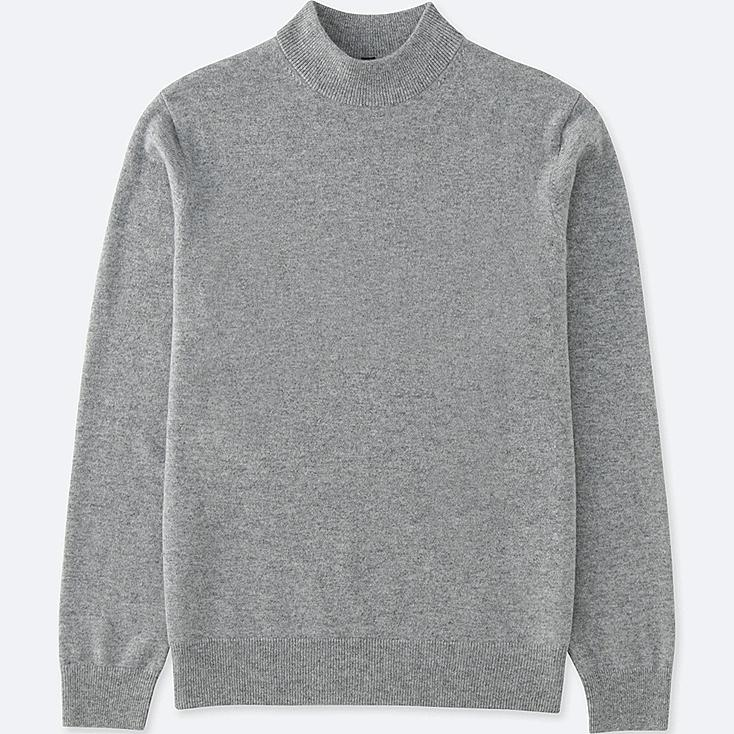 MEN CASHMERE MOCK NECK SWEATER, GRAY, large