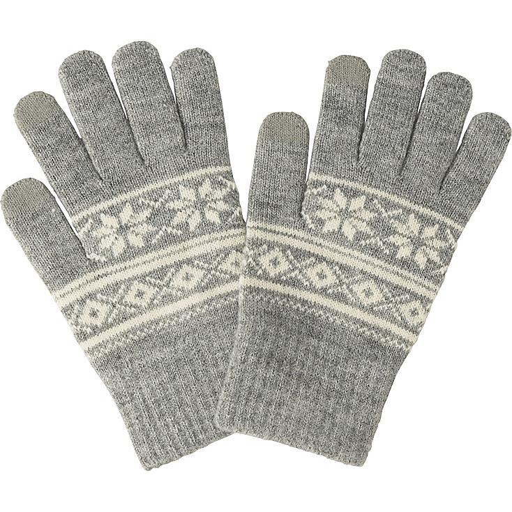 MEN HEATTECH KNIT GLOVES (FAIRISLE), GRAY, large