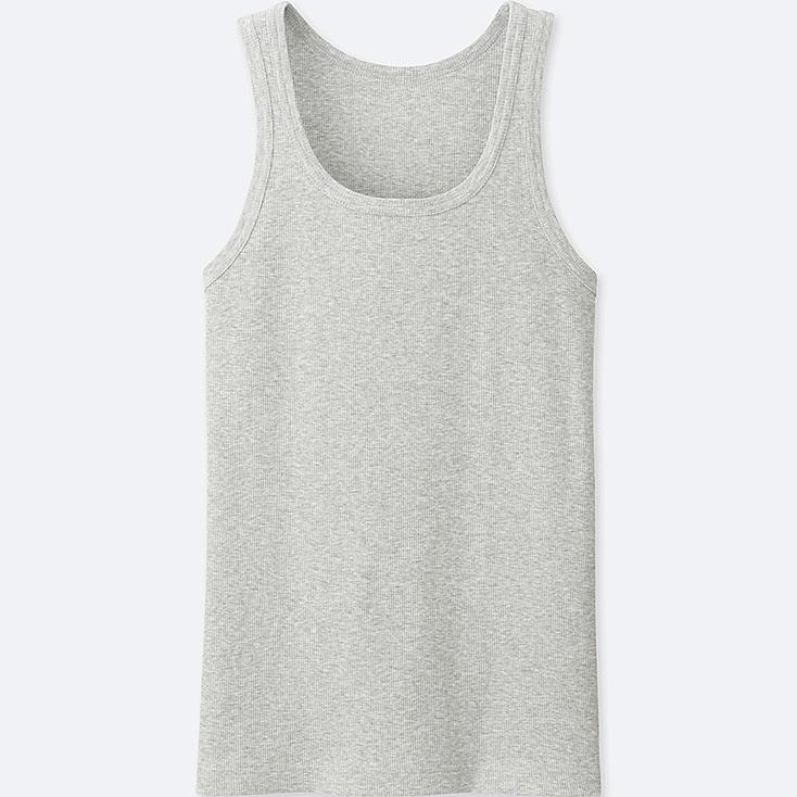 MEN PACKAGED DRY COLOR RIB TANK TOP, GRAY, large