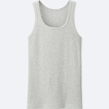MEN PACKAGED DRY COLOR RIB TANK TOP, GRAY, medium