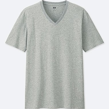 MEN Supima® COTTON V-NECK SHORT SLEEVE T-Shirt, GRAY, medium