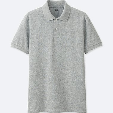 MEN DRY PIQUE SHORT SLEEVE POLO SHIRT, GRAY, medium