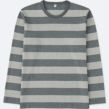 MEN WASHED STRIPED CREWNECK LONG SLEEVE T-SHIRT, GRAY, medium