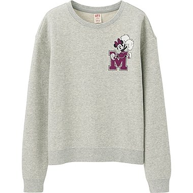 WOMEN DISNEY LONG SLEEVE SWEAT PULLOVER, GRAY, medium