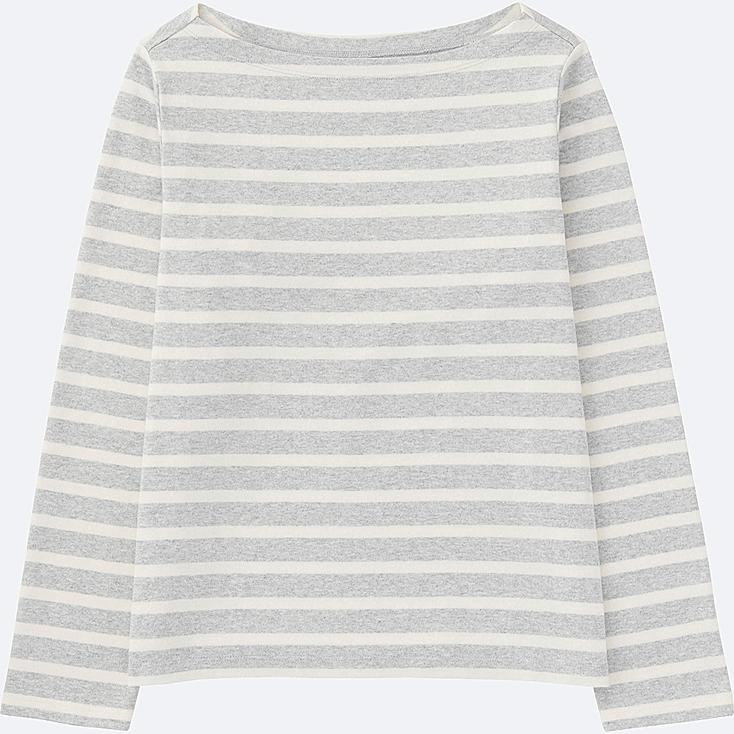WOMEN STRIPED BOAT NECK LONG SLEEVE T-SHIRT, GRAY, large