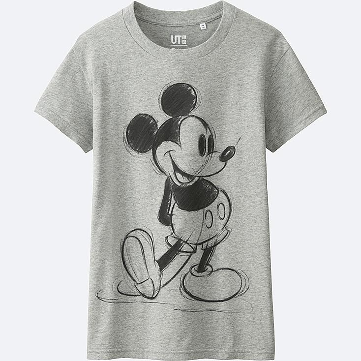 WOMEN DISNEY COLLECTION SHORT SLEEVE GRAPHIC T-SHIRT, GRAY, large